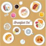美好的早餐集合 免版税库存照片