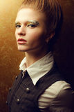 美好的时尚红发模型画象  免版税图库摄影