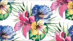 美好的明亮的可爱的美妙的热带热带黄色桃红色蓝色hibi的夏威夷花卉草本夏天五颜六色的无缝的样式 皇族释放例证