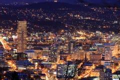 美好的晚上俄勒冈波特兰远景 免版税库存照片