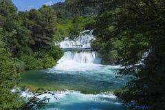 美好的晴朗的夏日在Krka国家公园克罗地亚欧洲 免版税图库摄影