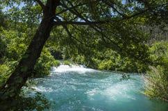 美好的晴朗的夏日在Krka国家公园克罗地亚欧洲 库存照片