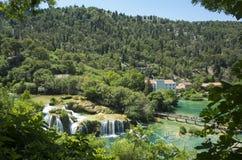 美好的晴朗的夏日在Krka国家公园克罗地亚欧洲 库存图片