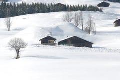 美好的村庄冬天 库存图片