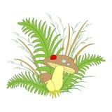 美好的构成、水多的草、蘑菇和逗人喜爱的瓢虫 r 库存例证