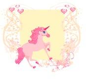美好的桃红色独角兽。 免版税库存图片