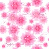 美好的桃红色花背景 无缝的模式 传染媒介illus 免版税库存图片
