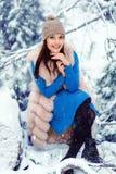 美好的森林女孩冬天 库存照片