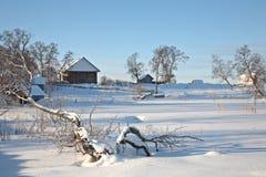 美好的横向农村冬天 库存图片