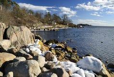 美好的横向海运春天瑞典 库存图片