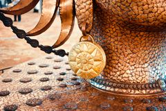 美好的橙色金属结构独特的照片 免版税图库摄影