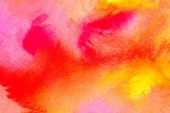 美好的水彩背景以充满活力的橙色桃红色红色黄色 伟大为纹理和背景您的项目和样式的 免版税库存照片