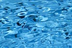 美好的波浪水表面特写镜头在蓝色颜色的 免版税图库摄影