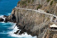 美好的海岸线在Cinque Terre, 库存照片