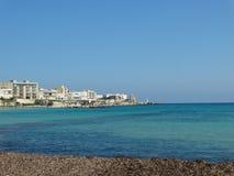 美好的海岸线的看法在奥特朗托,南意大利 图库摄影