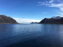 美好的海景在北挪威 库存照片
