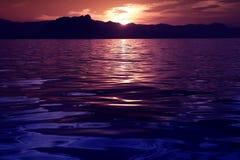 美好的海洋反映海景日落 免版税库存图片