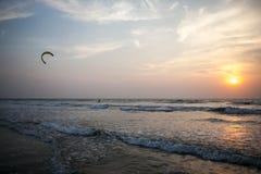 美好的海洋日落 免版税库存照片