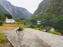 美好的海湾风景 Naeroyfjord,挪威 库存图片