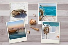 美好的海边快照在与贝壳的土气木背景安排了 库存照片