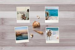 美好的海边快照在与贝壳的土气木背景安排了 图库摄影
