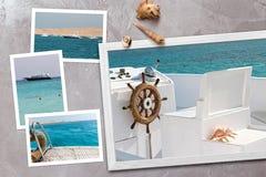 美好的海边快照在与贝壳的土气木背景安排了 库存图片
