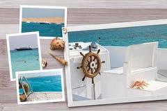 美好的海边快照在与贝壳的土气木背景安排了 免版税库存图片