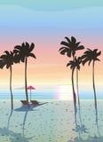 美好的海风景、日出和日落 免版税库存照片