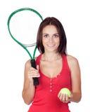 美好的深色的女孩球拍网球 免版税库存图片