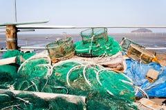美好的渔夫韩国海边查阅 免版税库存图片