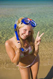 美好的潜水愉快的屏蔽夏天妇女 免版税库存图片