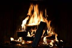美好的火 壁炉 库存照片