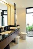 美好的灰色新的现代卫生间内部 库存照片