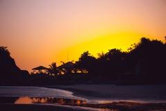 美好的热带日落在果阿,印度 免版税库存图片