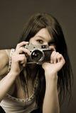 美好的照相机重点摄影师乌贼属 库存图片