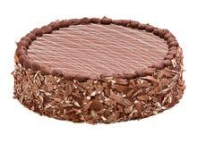 美好的牛奶巧克力奶油蛋糕-结块与镶边上面 免版税图库摄影