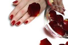美好的现有量修指甲钉子红色 免版税图库摄影