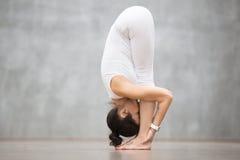 美好的瑜伽:常设向前弯姿势 免版税图库摄影