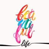 美好的生活水彩概念手字法刺激岗位 库存图片
