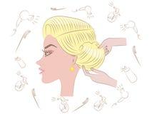 美好的白肤金发的发型 库存照片