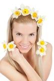 美好的白肤金发的女花童黄色 免版税图库摄影