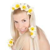 美好的白肤金发的女花童黄色 库存照片