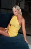 美好的白肤金发的弯曲的图妇女 免版税库存图片