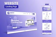 美好的着陆页网站模板设计观念传染媒介 库存例证