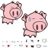 美好的矮小的大顶头猪动画片表示集合 免版税库存照片