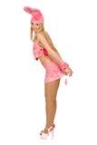 美好的礼服花梢女孩粉红色 免版税库存照片