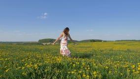 美好的礼服跳舞的愉快的微笑的妇女在开花的黄色领域 影视素材