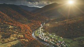美好的秋天山风景鸟瞰图  库存图片