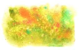 美好的秋天水彩背景 黄色,绿色,红色 库存照片