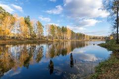 美好的秋天风景全景在有湖的,俄罗斯,乌拉尔一个森林里 免版税库存图片